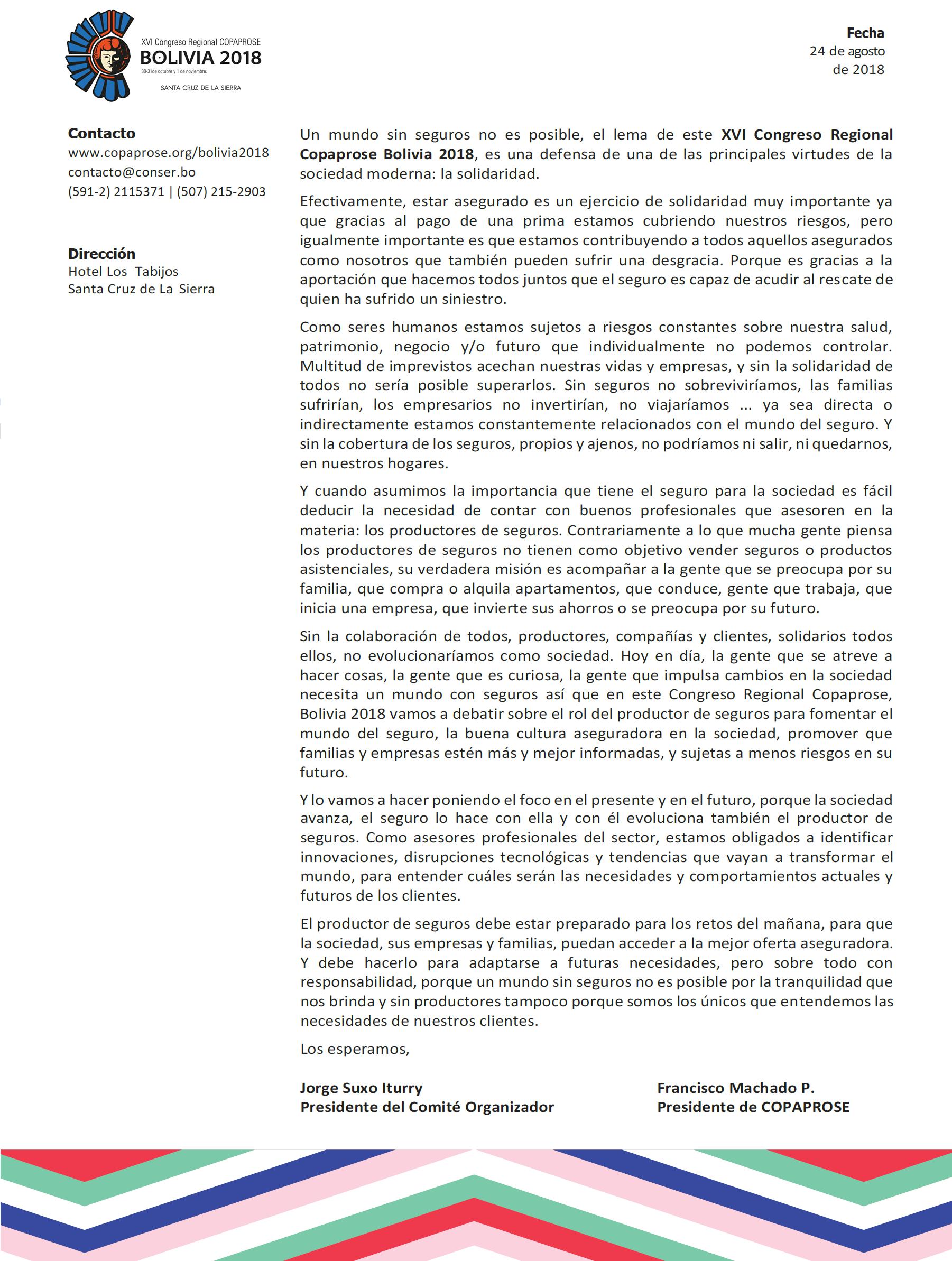 Carta de Presentación del Congreso COPAPROSE Bolivia 2018